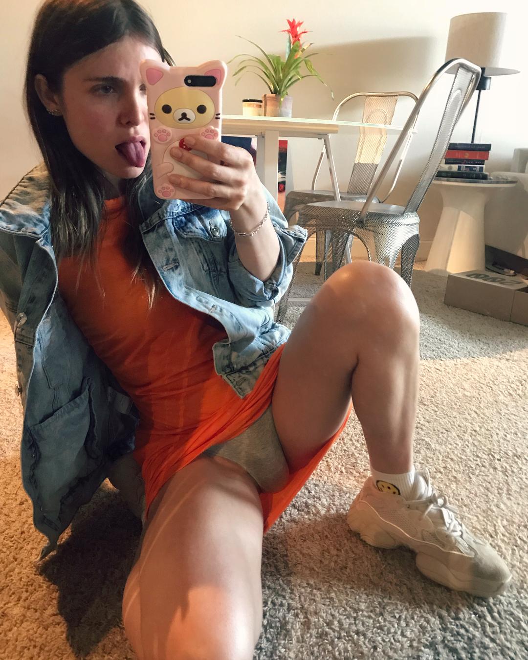TS Aryll mirror upskirt panty shot