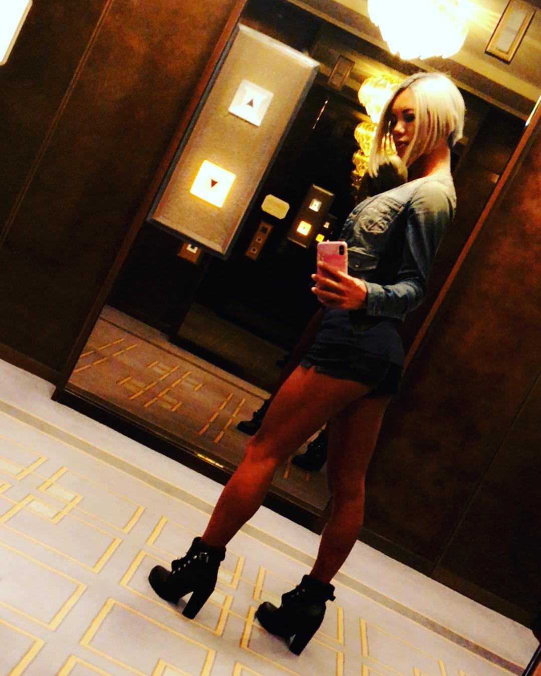 Ladyboy Miran elevator full body selfie