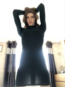 TS backlit in dress shows her cock