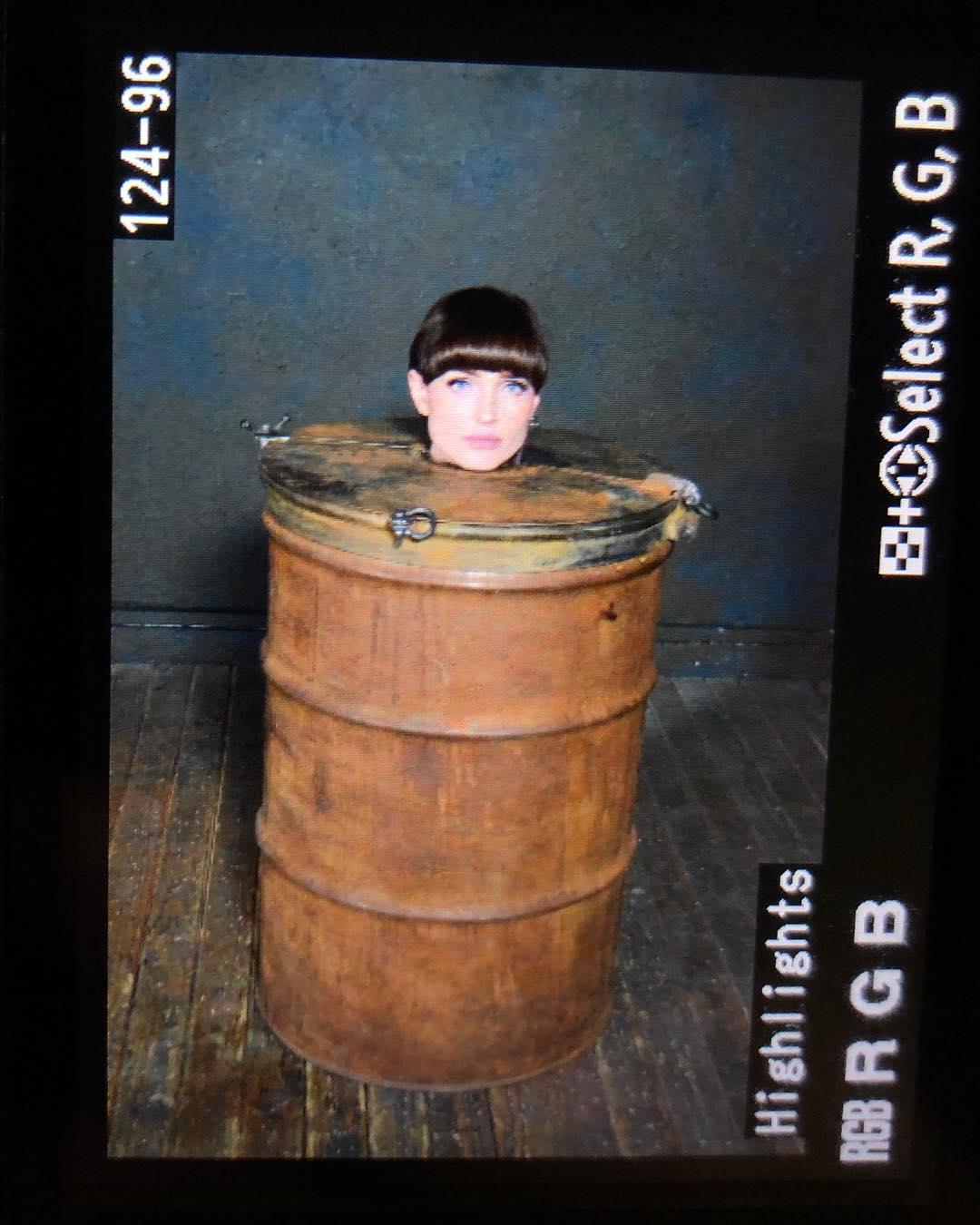 Natalie Mars kinky barrel bondage
