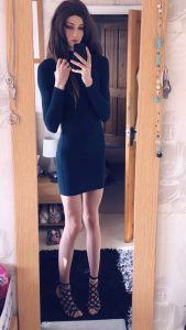 Slim Rachel White in black dress
