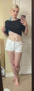Pale Nikki Winters mirror selfie