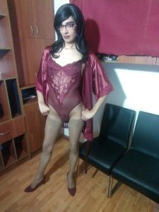 TS Tania Wong in lingerie and pantyhose
