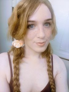 Pale freckled redhead ts Erica Cherry selfies
