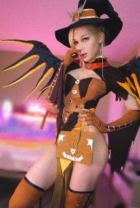 TS Blondelashes19 in Overwatch Mercy cosplay