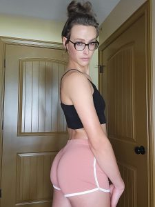 Nerdy ts Eden Rose in booty shorts and glasses