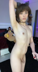 Petite ts Kate Zoha nude selfie showing her semi hard cock and perky tits