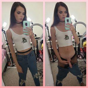Super skinny ts Kira Crash shows her cock in mirror dick pic selfies