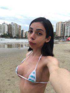 TS Alt Bonny tinnie tiny bikini at the public beach
